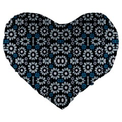 Floral Print Seamless Pattern in Cold Tones  19  Premium Flano Heart Shape Cushion