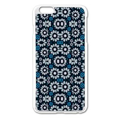 Floral Print Seamless Pattern In Cold Tones  Apple Iphone 6 Plus Enamel White Case