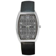 Cyberpunk Silver Print Pattern  Tonneau Leather Watch