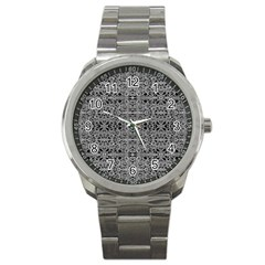 Cyberpunk Silver Print Pattern  Sport Metal Watch