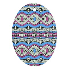 Aztec Style Pattern In Pastel Colors Oval Ornament (two Sides)