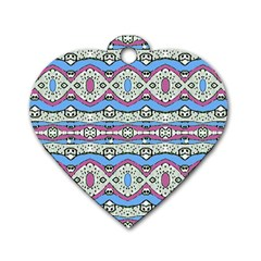 Aztec Style Pattern In Pastel Colors Dog Tag Heart (one Sided)