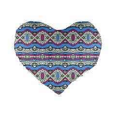 Aztec Style Pattern in Pastel Colors 16  Premium Flano Heart Shape Cushion