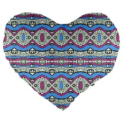 Aztec Style Pattern in Pastel Colors 19  Premium Flano Heart Shape Cushion