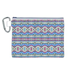 Aztec Style Pattern in Pastel Colors Canvas Cosmetic Bag (Large)