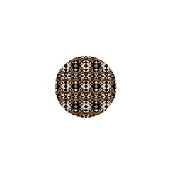 Geometric Tribal Style Pattern In Brown Colors Scarf 1  Mini Button