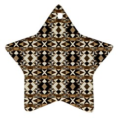 Geometric Tribal Style Pattern in Brown Colors Scarf Star Ornament