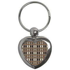 Geometric Tribal Style Pattern In Brown Colors Scarf Key Chain (heart)