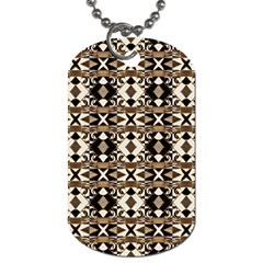 Geometric Tribal Style Pattern In Brown Colors Scarf Dog Tag (two Sided)