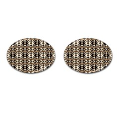 Geometric Tribal Style Pattern In Brown Colors Scarf Cufflinks (oval)