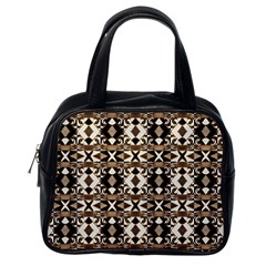 Geometric Tribal Style Pattern In Brown Colors Scarf Classic Handbag (one Side)