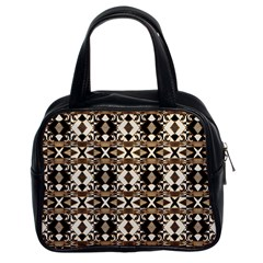 Geometric Tribal Style Pattern In Brown Colors Scarf Classic Handbag (two Sides)