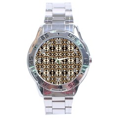 Geometric Tribal Style Pattern In Brown Colors Scarf Stainless Steel Watch