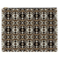 Geometric Tribal Style Pattern In Brown Colors Scarf Cosmetic Bag (xxxl)