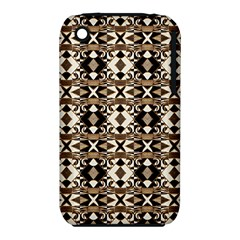 Geometric Tribal Style Pattern in Brown Colors Scarf Apple iPhone 3G/3GS Hardshell Case (PC+Silicone)