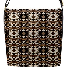 Geometric Tribal Style Pattern in Brown Colors Scarf Flap Closure Messenger Bag (Small)