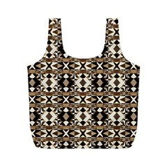 Geometric Tribal Style Pattern In Brown Colors Scarf Reusable Bag (m)