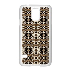 Geometric Tribal Style Pattern in Brown Colors Scarf Samsung Galaxy S5 Case (White)
