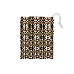 Geometric Tribal Style Pattern in Brown Colors Scarf Drawstring Pouch (Small)