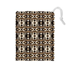 Geometric Tribal Style Pattern in Brown Colors Scarf Drawstring Pouch (Large)