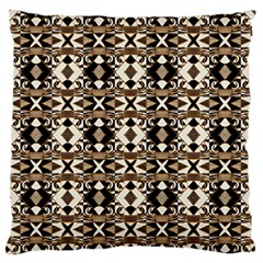Geometric Tribal Style Pattern in Brown Colors Scarf Large Flano Cushion Case (Two Sides)