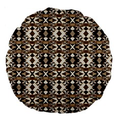 Geometric Tribal Style Pattern in Brown Colors Scarf 18  Premium Flano Round Cushion