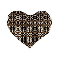 Geometric Tribal Style Pattern in Brown Colors Scarf 16  Premium Flano Heart Shape Cushion