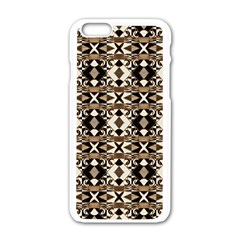 Geometric Tribal Style Pattern in Brown Colors Scarf Apple iPhone 6 White Enamel Case