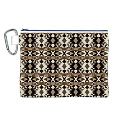 Geometric Tribal Style Pattern in Brown Colors Scarf Canvas Cosmetic Bag (Large)