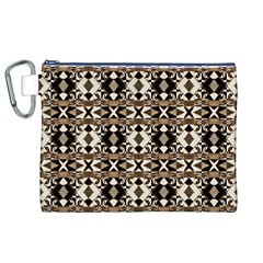 Geometric Tribal Style Pattern in Brown Colors Scarf Canvas Cosmetic Bag (XL)