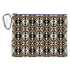 Geometric Tribal Style Pattern in Brown Colors Scarf Canvas Cosmetic Bag (XXL)