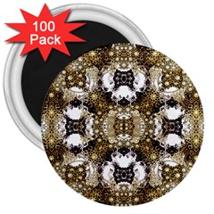 Baroque Ornament Pattern Print 3  Button Magnet (100 Pack)
