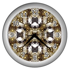 Baroque Ornament Pattern Print Wall Clock (silver)