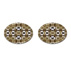 Baroque Ornament Pattern Print Cufflinks (oval)