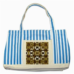 Baroque Ornament Pattern Print Blue Striped Tote Bag
