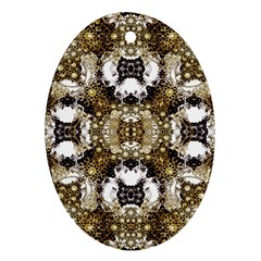 Baroque Ornament Pattern Print Oval Ornament (two Sides)