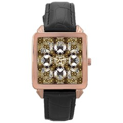 Baroque Ornament Pattern Print Rose Gold Leather Watch