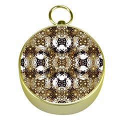 Baroque Ornament Pattern Print Gold Compass