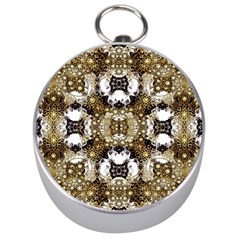 Baroque Ornament Pattern Print Silver Compass