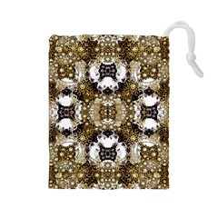 Baroque Ornament Pattern Print Drawstring Pouch (Large)