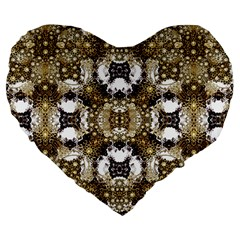 Baroque Ornament Pattern Print 19  Premium Flano Heart Shape Cushion
