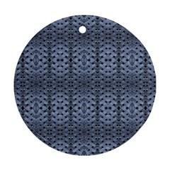 Futuristic Geometric Pattern Design Print In Blue Tones Round Ornament