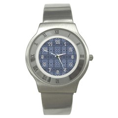 Futuristic Geometric Pattern Design Print In Blue Tones Stainless Steel Watch (slim)