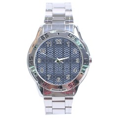 Futuristic Geometric Pattern Design Print In Blue Tones Stainless Steel Watch