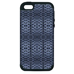 Futuristic Geometric Pattern Design Print In Blue Tones Apple Iphone 5 Hardshell Case (pc+silicone)