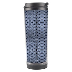 Futuristic Geometric Pattern Design Print in Blue Tones Travel Tumbler