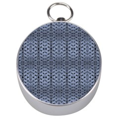 Futuristic Geometric Pattern Design Print in Blue Tones Silver Compass