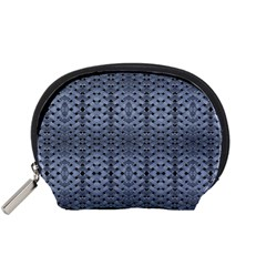 Futuristic Geometric Pattern Design Print In Blue Tones Accessory Pouch (small)