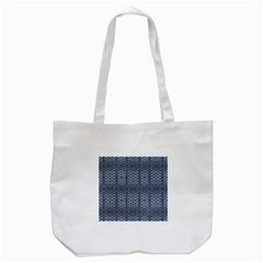 Futuristic Geometric Pattern Design Print in Blue Tones Tote Bag (White)