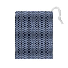 Futuristic Geometric Pattern Design Print in Blue Tones Drawstring Pouch (Large)